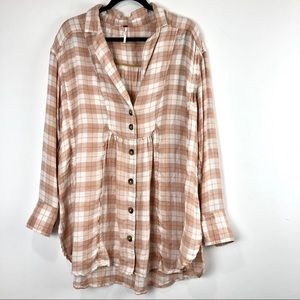 Free People All About The Feels Plaid Button Down